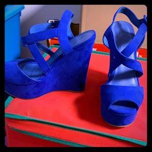 Royal Blue Wedge Heels!